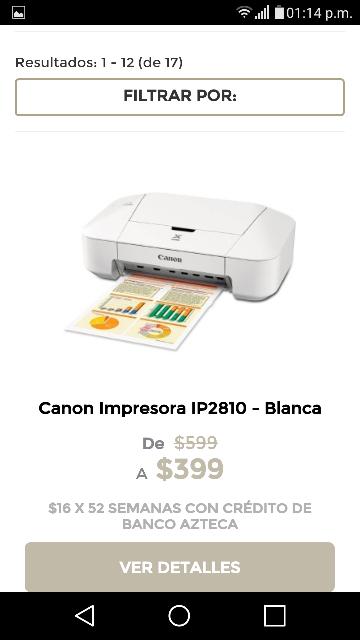 Elektra: Canon Impresora IP2810 - Blanca