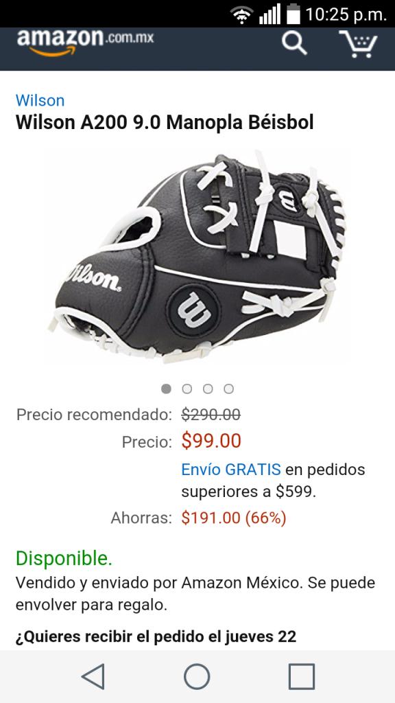 Amazon: manopla de béisbol Wilson a $99