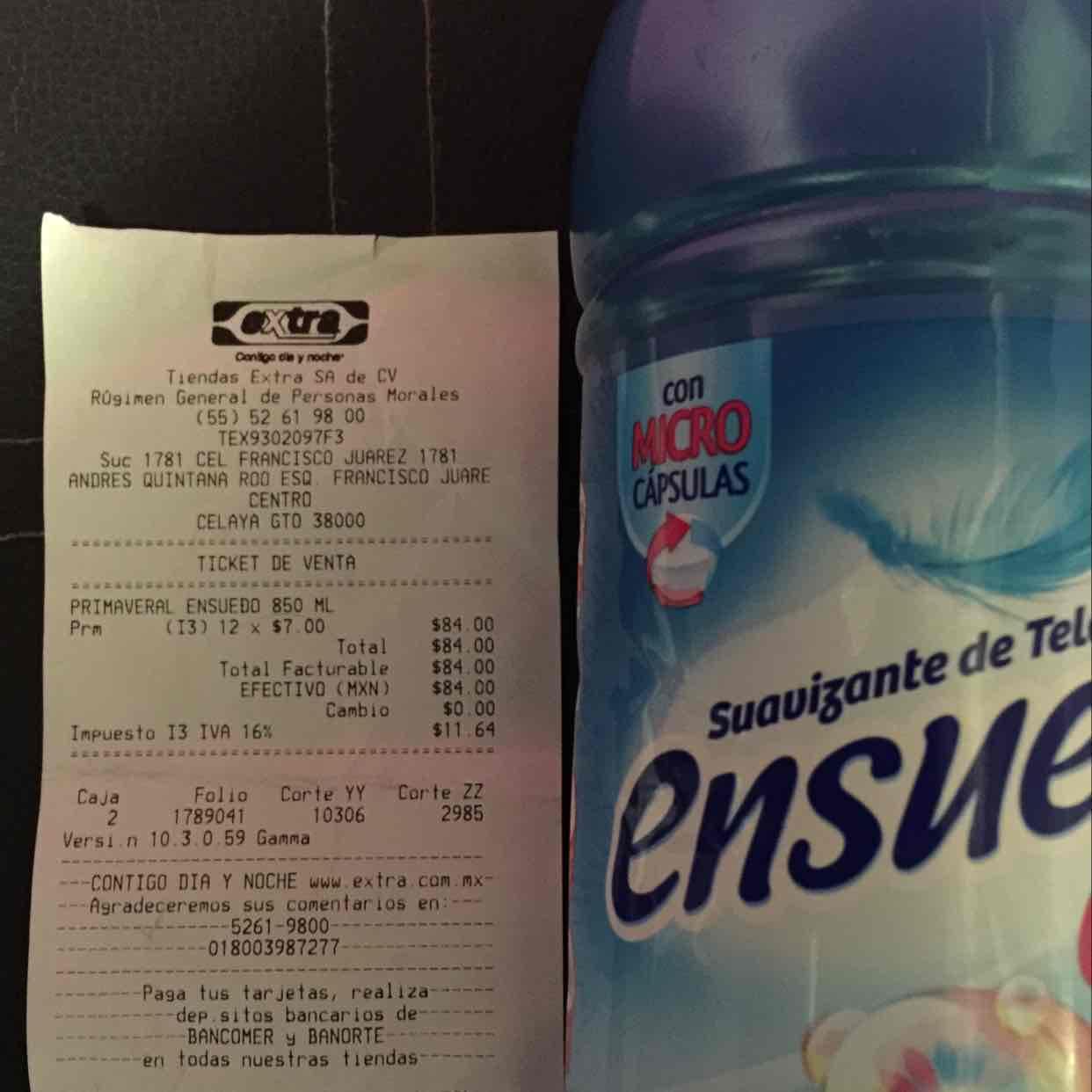 Tiendas Extra: Suavizante de telas Ensueño 850 ml 2x$14