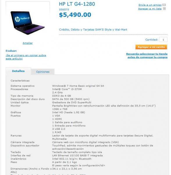 Walmart.com.mx: laptop HP i3 con 4GB de RAM y 500GB de DD a $5,490