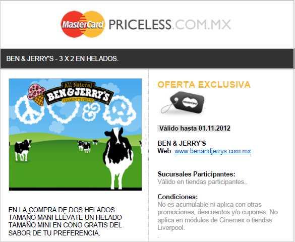 Ben & Jerry's: 3x2 pagando con MasterCard (con cupón)