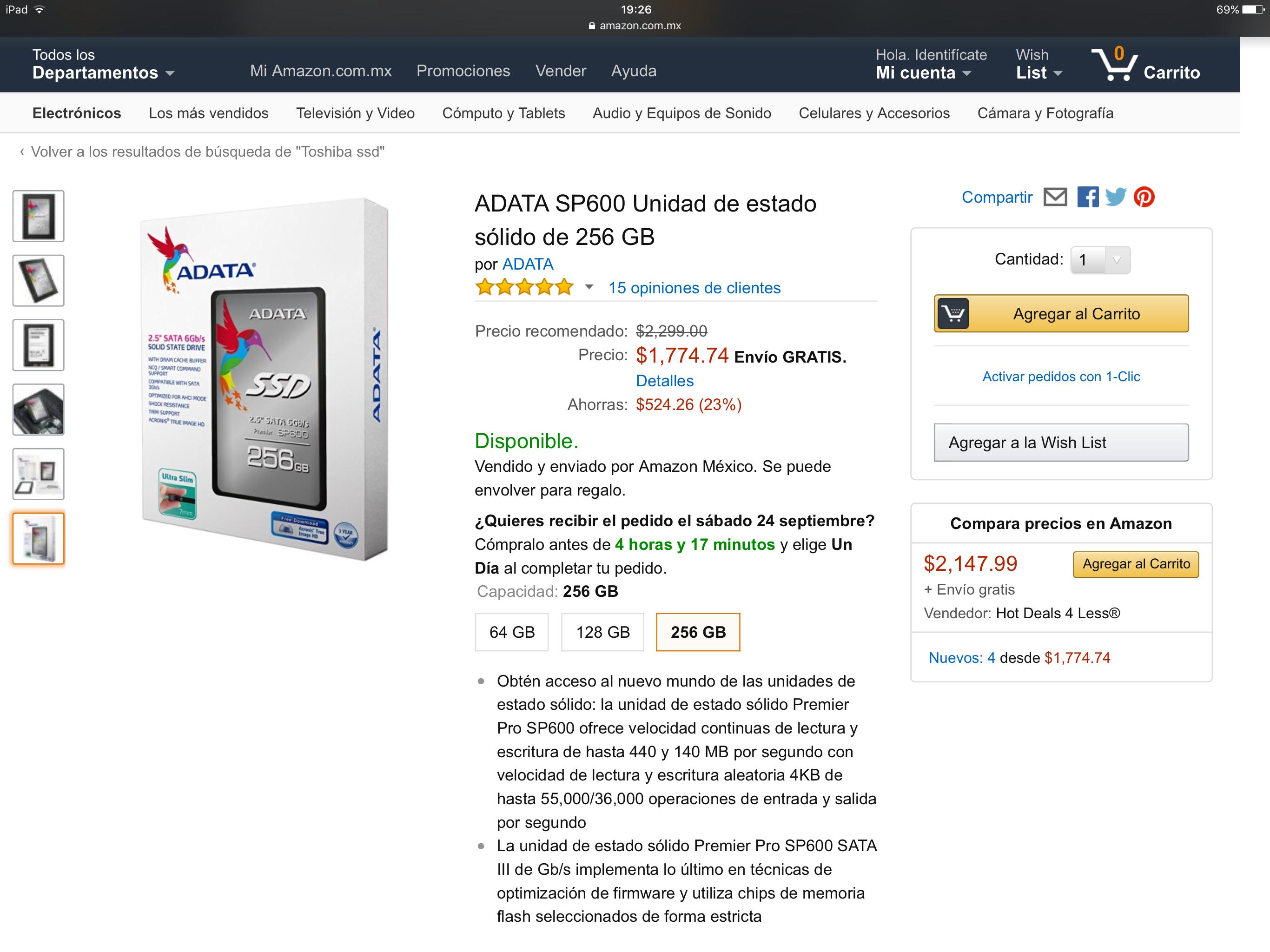 AMAZON MX: SSD ADATA 256 GB $1,597.26 con Banamex ($1,745 otros medios)
