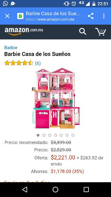 Amazon: Barbie Casa de Los Sueños a $2,221 (vendido por Lenatoys)