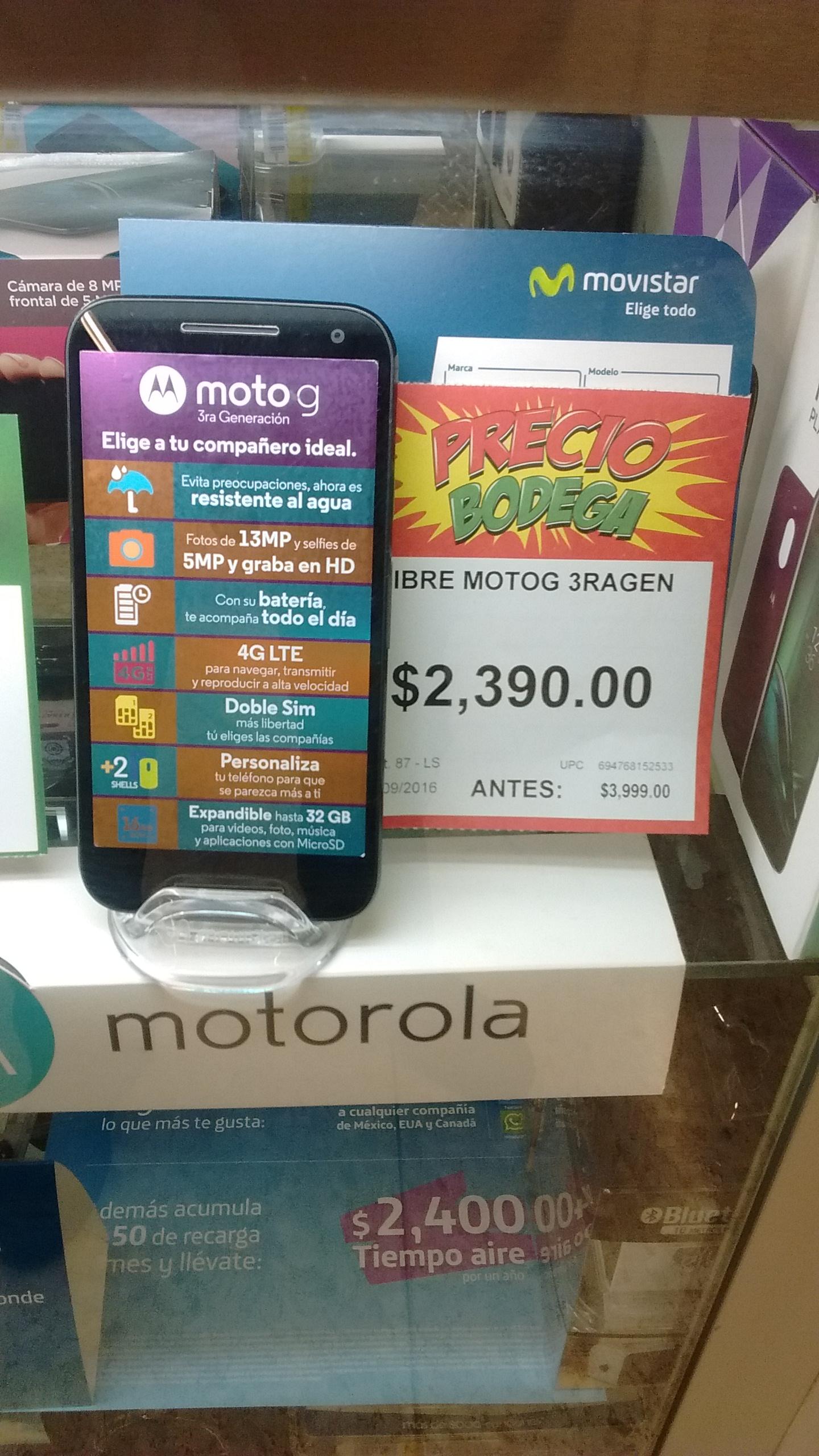 Bodega Aurrerá Tacubaya: $2,390 Moto G 3ra Generación 16Gb Negro 4G LTE Desbloqueado