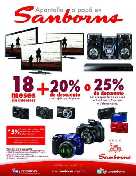 Sanborns: 20% de descuento y 18 MSI o 25% en electrónica, cámaras y videocámaras