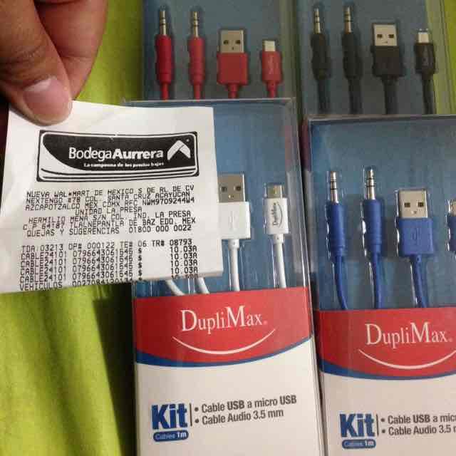 Bodega Aurrerá: KIT CABLE USB Y 3.5MM  DUPLIMAX a $10.03