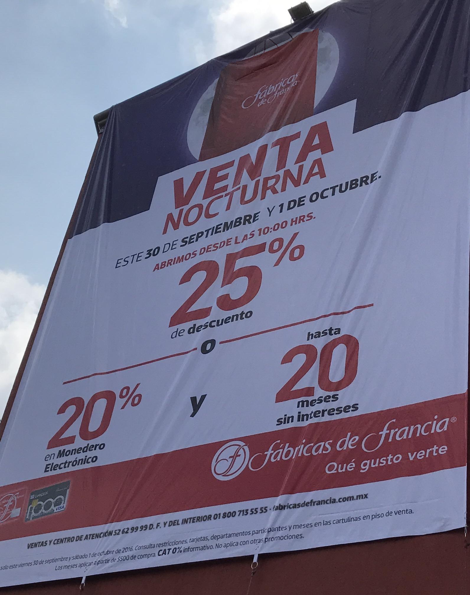 Venta Nocturna en Fábricas de Francia 30 Sep y 1 Oct