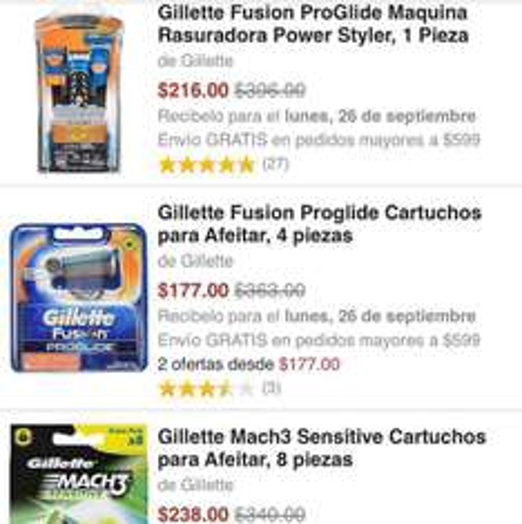 Amazon: Excelentes Ofertas en Rastrillos y Productos Gillette hasta -57% de descuento