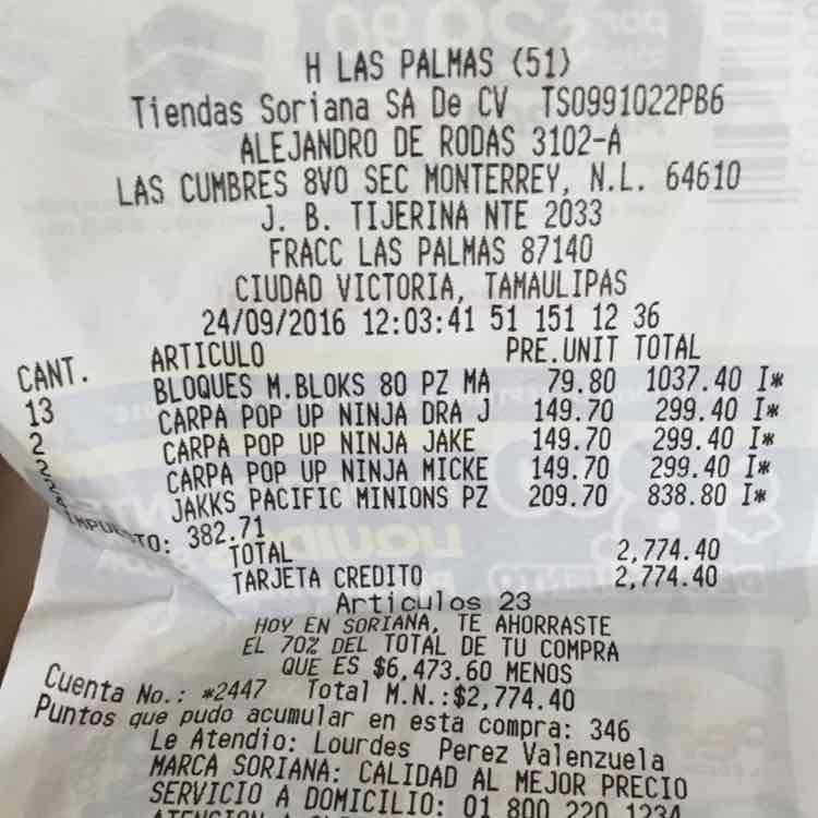 Soriana Las Palmas: mega block de 80 pzas niño a $80