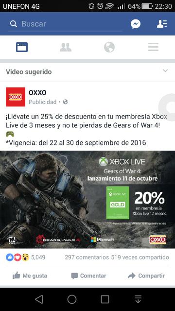 Oxxo: descuento en tarjetas de Xbox Live de 3 meses (25%) y 12 meses (20%)