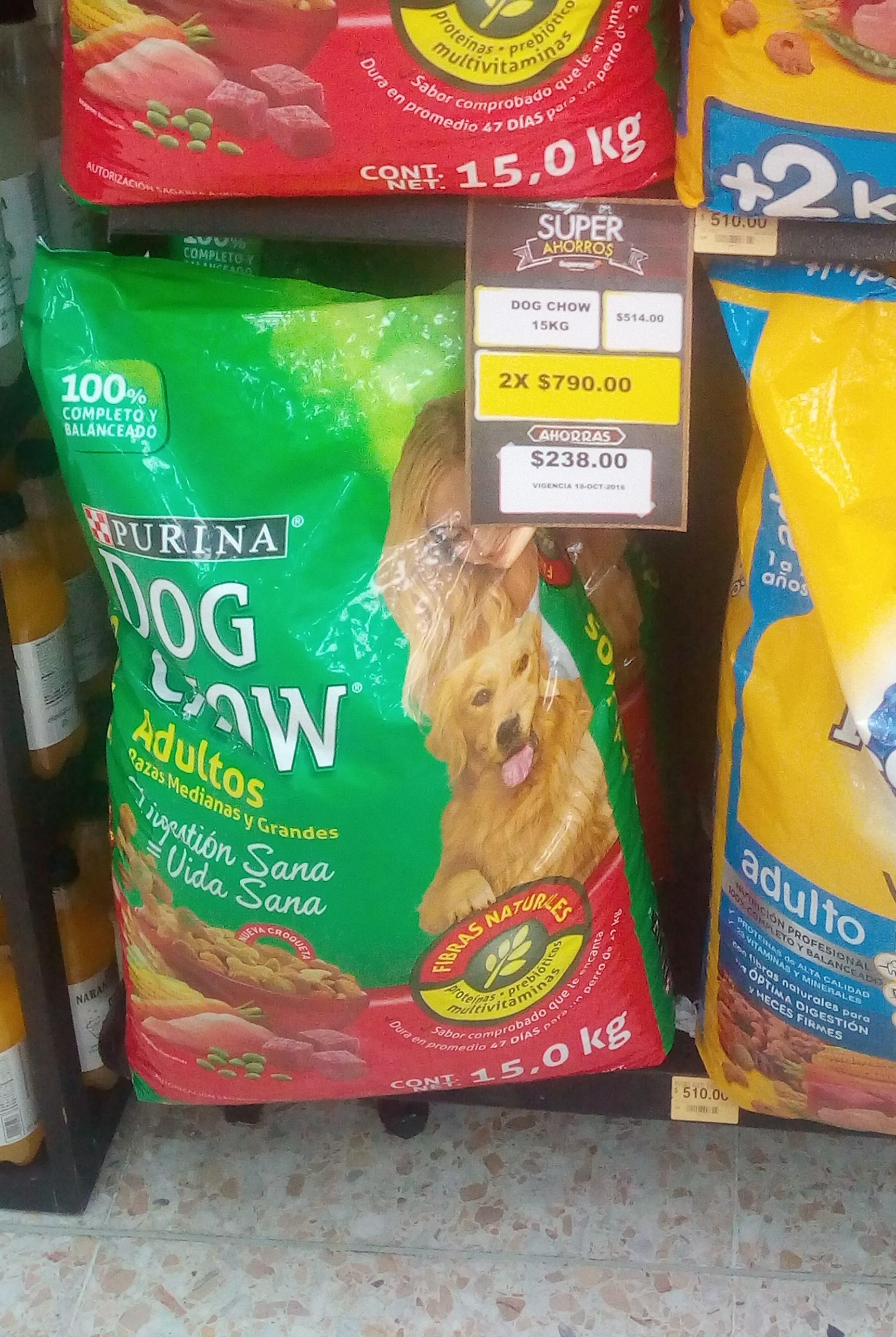 Superama Alameda del Sur: 2 bolsas 15Kg Purina Dog Chow Adultos por $790