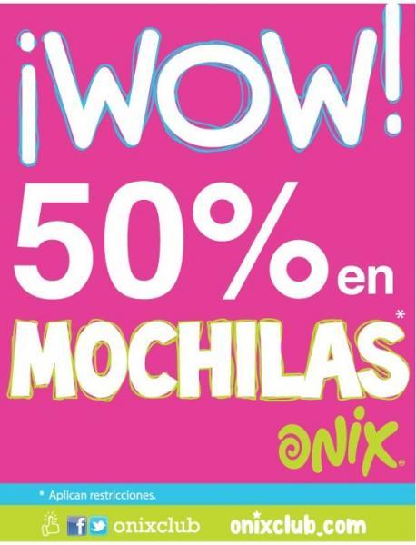 Onix: 50% de descuento en mochilas
