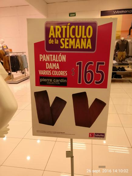 Suburbia: artículo de la semana, pantalón para dama a $165