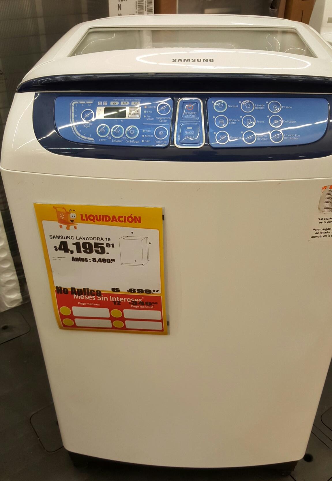 Walmart: Lavadora Samsung 19k  WA19F7L2UDW/AX a $4,195.01