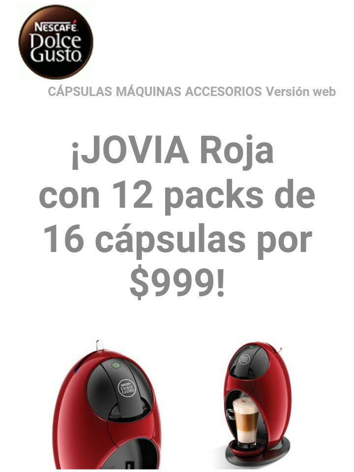 Dolce Gusto: Cafetera Jovia a $999 con 12 paquetes de cápsulas con código 1REGALODOLCE