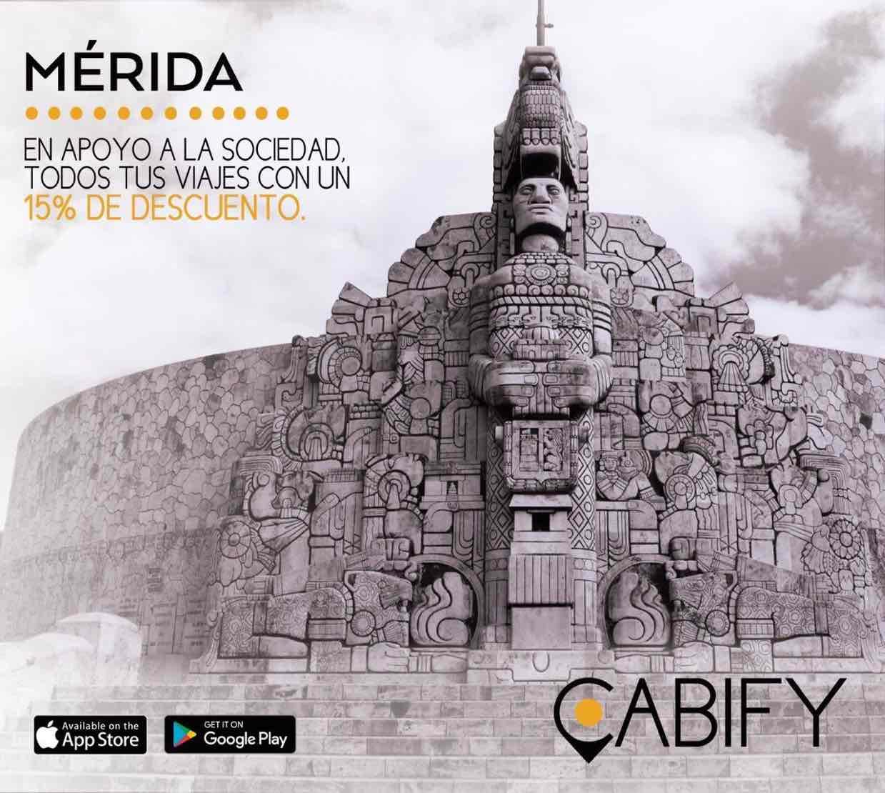 Cabify Mérida: Descuento de 15% en tus viajes (todos los usuarios en Mérida)