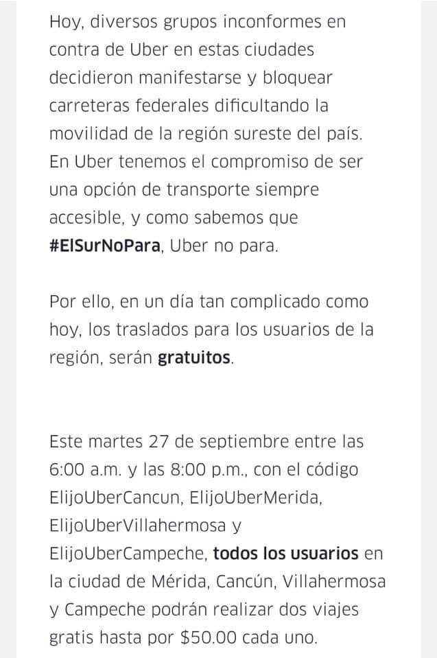 Uber: 2 viajes de 50 C/U para todos los usuarios (Cancun,  Mérida,  Campeche, Villahermosa)