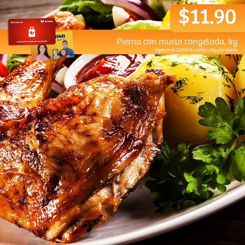 Soriana Híper y Súper (Recompensa Martes 27 Septiembre) Pierna con muslo de pollo congelada a $11.90 kg.
