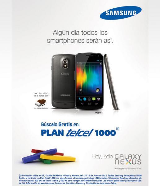 Galaxy Nexus gratis en plan Telcel 1000 a 24 meses (región 9)