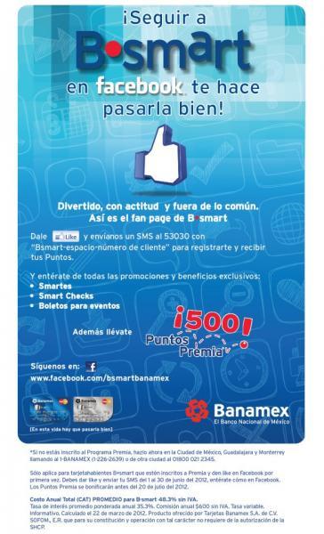 500 puntos Premia al darle like a Bsmart en facebook (tarjetahabientes Bsmart)