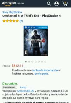 Amazon: Uncharted 4: A Thief's End para PS4 a $791