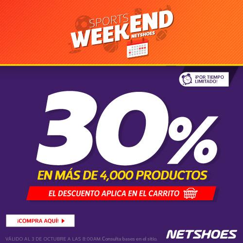 Netshoes: 30% menos, aprovecha Sports Weekend!