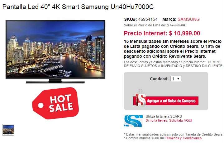 "Ofertas de Hot Sale en Sears: pantalla 4K Samsung de 40"" $9,899 o $10,999"