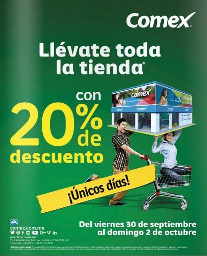 Comex: 20% de descuento en toda la tienda del 30 de Septiembre al 2 de Octubre