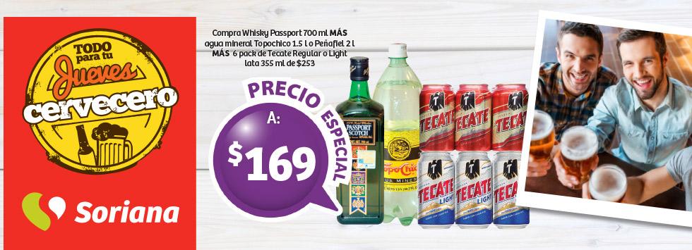 Soriana: Whisky Passport + Agua Mineral + Seis Tecate