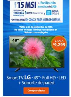 "Walmart: TV LG 49"" Full HD Smart TV LED mas Soporte de pared"