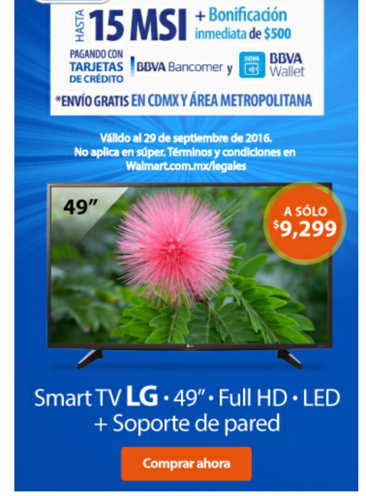 "Walmart: TV LG 49"" Full HD Smart TV LED mas Soporte de pared"