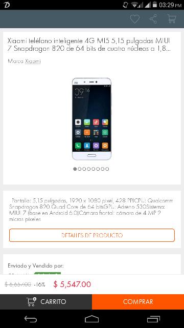Linio: Xiaomi MI5 a $5,547 (envío internacional)