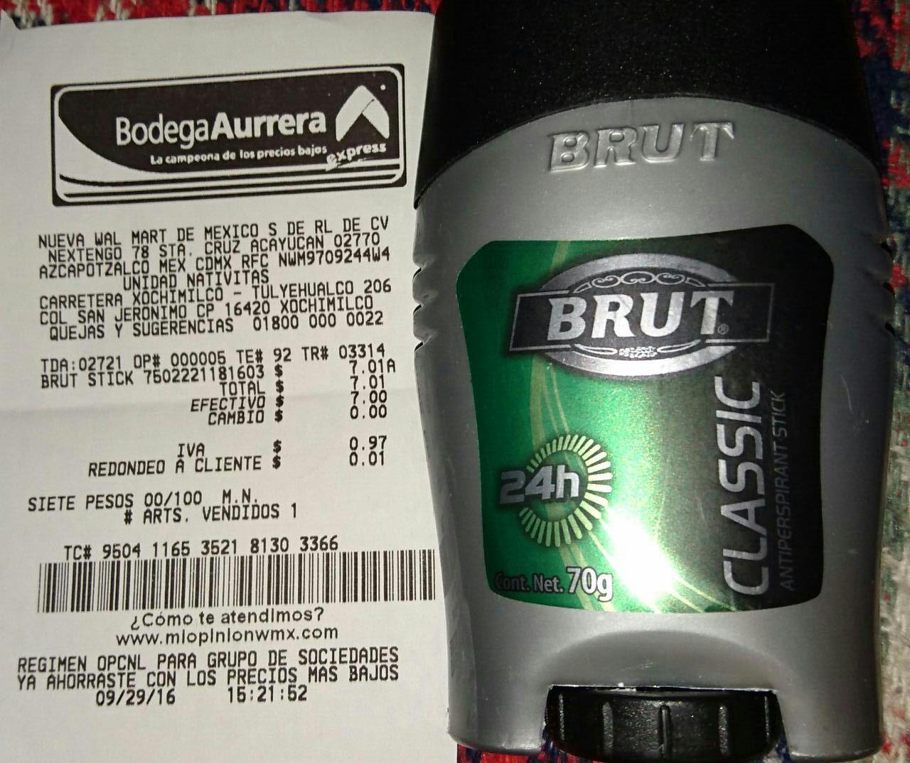 Bodega Aurrerá Nativitas: antitranspirante Brut 70g a $7.01
