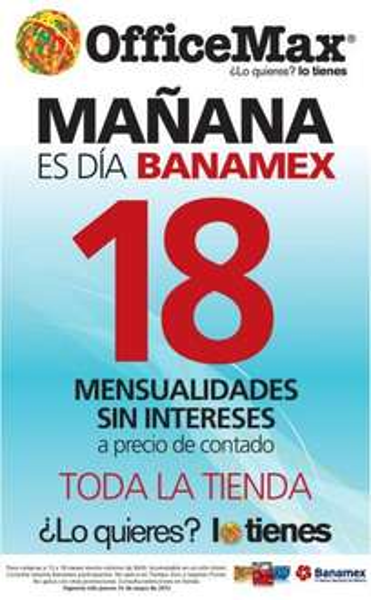 Día Banamex 31 de mayo: 18 meses sin intereses sobre precio de conatdo