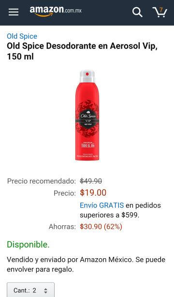 Amazon: Old Spice Desodorante en Aerosol Vip, 150 ml