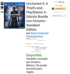 Amazon México: Uncharted 4: A thief's end para PS4 a $584.20