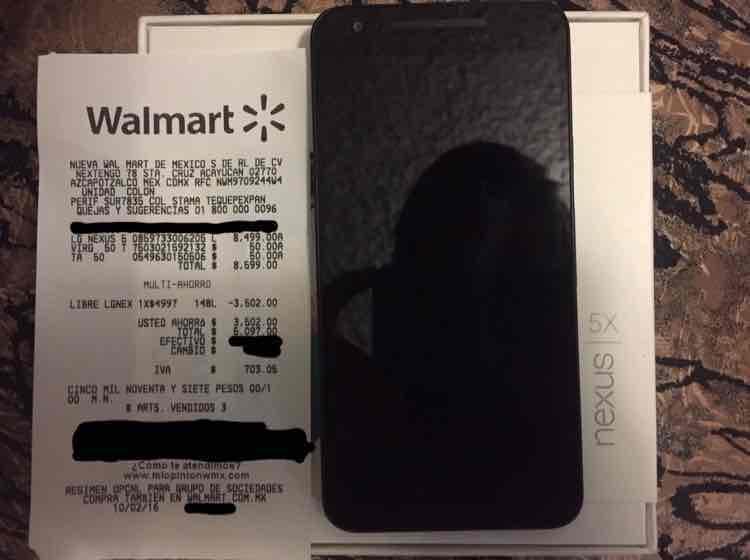 Walmart: LG Nexus 5X 32gb a $4,997