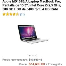 "Amazon: MacBook Pro MD101E/A 13.3"", i5, 500GB, 4GB RAM (Vendido por un tercero)"