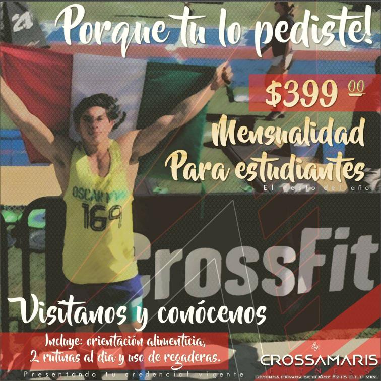 Crossamaris Fitness San Luis Potosí: mensualidad de crossfit para estudiantes $399