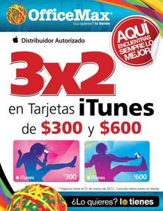 OfficeMax: 3X2 en tarjetas iTunes