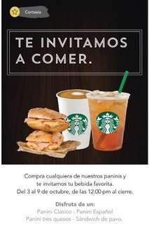 Starbucks: en la compra de un panini tu bebida es gratis