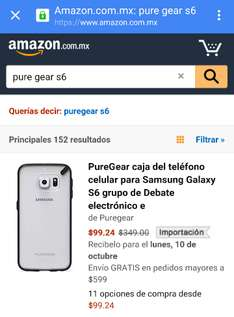Amazon México: Case PureGear shell Clear/Black para Galaxy S6