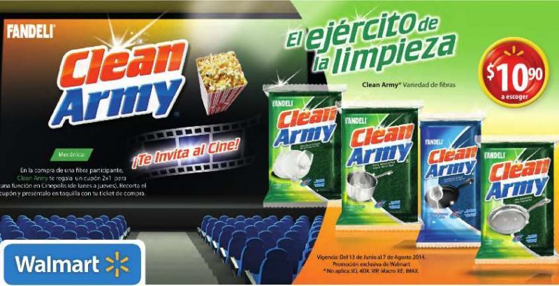 Cinépolis: 2x1 comprando fibra Clean Army en Walmart a $10.90