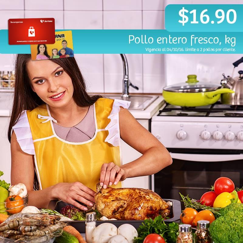 Soriana Híper y Súper: Recompensa Martes 4 de Octubre: Pollo Entero Fresco $16.90 kg.