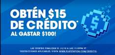 PlayStation Store: Gasta $100 y recibe $15 (USD)