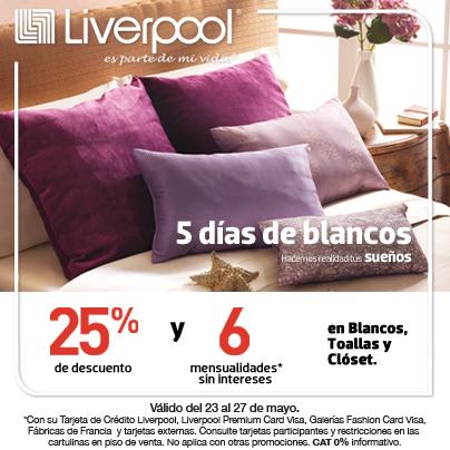 Liverpool: 25% de descuento y 6 MSI en blancos, toallas y clóset
