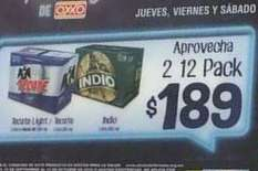 Oxxo CDMX: Hora feliz en cervezas, 2 12-pack por $189 de jueves a sábado de 6 a 10 PM