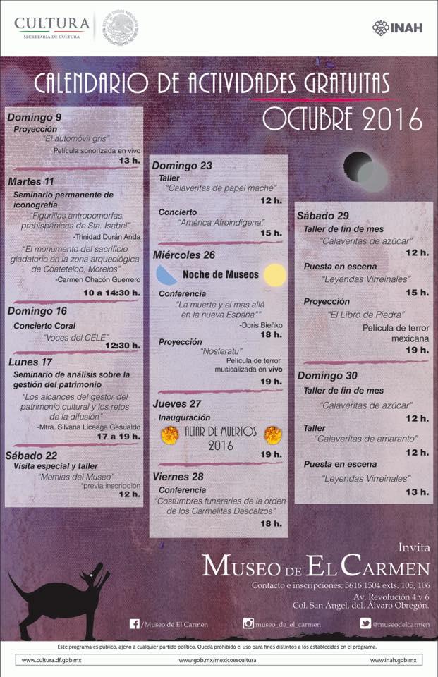 Museo del Carmen CDMX: actividades GRATIS en octubre