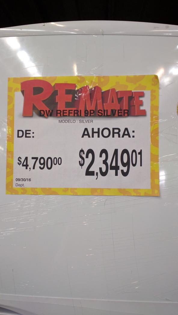 Bodega Aurrerá Peñon Edo de Méx: refrigerador Daewoo a $2,349.01