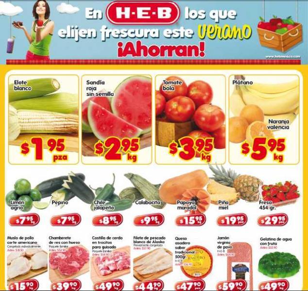 Frutas y verduras HEB: sandía $2.95, tomate $3.95 y más